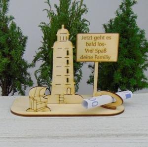Geldgeschenk Urlaub - oder Gutscheingeschenkset ★ Leuchtturm aus Holz mit der Aufschrift
