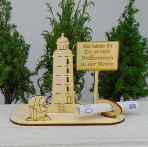 Geldgeschenk für den Ruhestand - oder Gutscheingeschenkset ★ Leuchtturm aus Holz mit der Aufschrift Sie haben Ihr Ziel erreicht Willkommen in der Rente - Handarbeit kaufen