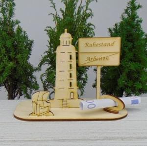 Geldgeschenk für den Ruhestand- oder Gutscheingeschenkset ★ Leuchtturm aus Holz mit der Aufschrift  - Handarbeit kaufen