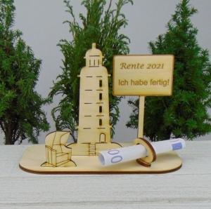 Geld- oder Gutscheingeschenkset ★ Leuchtturm aus Holz mit Aufschrift  - Handarbeit kaufen