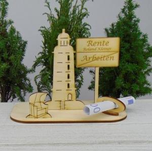 Geldgeschenk Ruhestand - oder Gutscheingeschenkset ★ Leuchtturm aus Holz mit der Aufschrift - Handarbeit kaufen