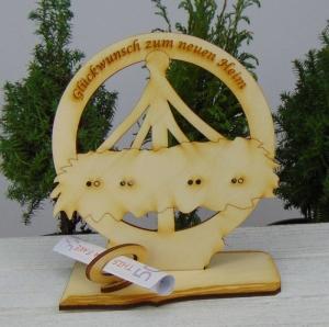 Geldgeschenk Einzug- oder Gutscheingeschenk zum neuen Heim  ♥  aus Birkenholz  ♥ graviert  ♥ Geschenk  zum Richtfest - Handarbeit kaufen