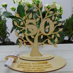 Lebensbaum - Geld- und Gutscheingeschenk oder Tischdeko ★ mit Zahl 50 aus Birkenholz ★ zum Verschenken zum Jubiläum - Handarbeit kaufen