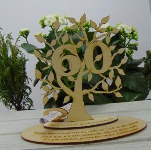 Lebensbaum - Geld- und Gutscheingeschenk oder Tischdeko ★ mit Zahl 60 aus Birkenholz ★ zum Verschenken zum Jubiläumlz Jubiläum   - Handarbeit kaufen