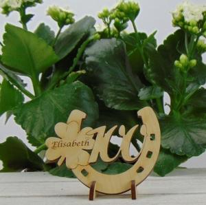 Tischdekoration/ Geschenk ★ Hufeisen aus Holz mit Kleeblatt und Jahreszahl 100 ★ zum Verschenken zum Geburtstag oder Jahrestag - Handarbeit kaufen