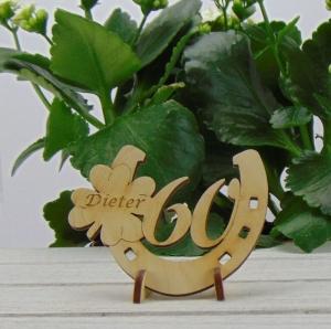 Tischdekoration/ Geschenk ★ Hufeisen aus Holz mit Kleeblatt und Jahreszahl 60 ★ zum Verschenken zum Geburtstag oder Jahrestag - Handarbeit kaufen