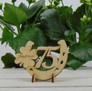 Tischdekoration/ Geschenk ★ Hufeisen aus Holz mit Kleeblatt und Jahreszahl 75 ★ zum Verschenken zum Geburtstag oder Jahrestag - Handarbeit kaufen