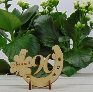 Tischdekoration/Geschenk ★ Hufeisen aus Holz mit Kleeblatt und Jahreszahl 90★ zum Verschenken zum Geburtstag oder Jahrestag - Handarbeit kaufen