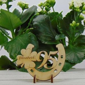 Tischdekoration/ Geschenk ★ Hufeisen aus Holz mit Kleeblatt und Jahreszahl 95★ zum Verschenken zum Geburtstag oder Jahrestag - Handarbeit kaufen