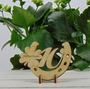 Tischdekoration/ Geschenk ★ Hufeisen aus Holz mit Kleeblatt und Jahreszahl 10★ zum Verschenken zum Geburtstag oder Jahrestag - Handarbeit kaufen