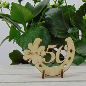 Tischdekoration/ Geschenk ★ Hufeisen aus Holz mit Kleeblatt und Jahreszahl 50★ zum Verschenken zum Geburtstag oder Jahrestag - Handarbeit kaufen