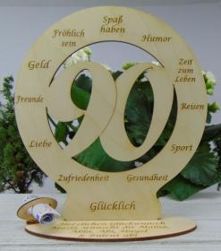 Zum 90. Geburtstag Tischdekoration aus Holz Geldgeschenk Personalisierter Tischschmuck - Handarbeit kaufen