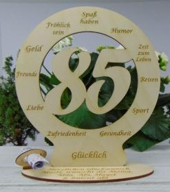 Zum 85. Geburtstag schöne Tischdekoration Personalisiert und als Geldgeschenk möglich   - Handarbeit kaufen