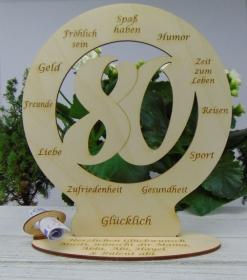 Zum 80. Geb. Tischschmuck aus Holz Geldgeschenk Personalisierte Tischdekoration graviert  - Handarbeit kaufen