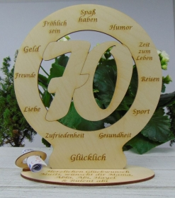 Tischdekoration Zum 70. Geburtstag Geldgeschenk Personalisiertes Geschenk aus Birkenholz - Handarbeit kaufen