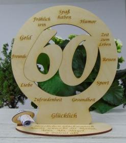 Zum 60. Geburtstag Tischdeko mit Wunschtext Geldgeschenk Personalisiertes graviertes Geschenk zum Geburtstag - Handarbeit kaufen