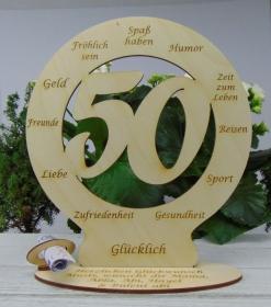 Zum 50. Geburtstag Geldgeschenk graviertes Birkenholz Personalisierte Tischdekoration mit Wunschtext - Handarbeit kaufen