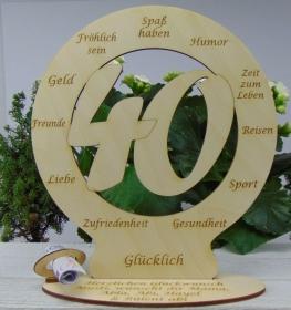 Zum 40. Geburtstag Geldgeschenk Personalisierte Tischdekoration  graviertes Birkenholz mit Ihren Wünschen - Handarbeit kaufen