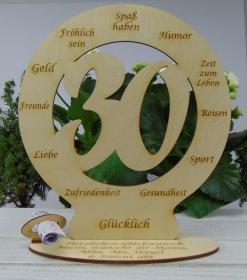Zum 30. Geburtstag Geldgeschenk Personalisierte Tischdekoration gravierte Glückwünsche auch mit Wunschtext - Handarbeit kaufen