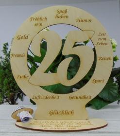 25. Geburtstag Geldgeschenk Personalisierte Tischdekoration  graviert mit ihrem Wunschtext  - Handarbeit kaufen