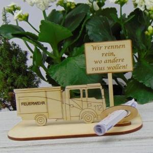 Geld - Gutscheingeschenk ★ für Feuerwehr  Wir rennen rein, wo andere raus wollen ! ★  aus Holz mit Aufschrift Jubiläum Feuerwehr Personalisiert    - Handarbeit kaufen
