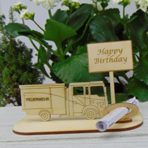 Geld - Gutscheingeschenk ★ für Feuerwehr  Happy Birthday ★  aus Holz mit Aufschrift Jubiläum Feuerwehr Personalisiert   - Handarbeit kaufen