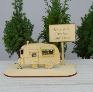 Geld - Gutscheingeschenk ★Wohnwagen mit  Wunschname  ★ Wunschtext Personalisierter Spruch Urlaubsgeschenk oder Zur Rente - Handarbeit kaufen
