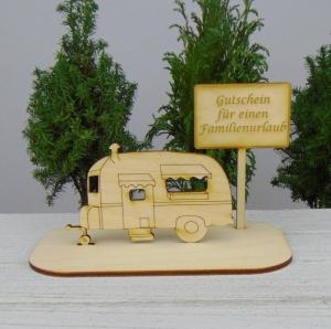 Geldgeschenk Gutschein für Urlaub ★Wohnwagen Gutschein für einen Familienurlaub★ Gutscheine für Campingplatz Urlaubsreise - Handarbeit kaufen