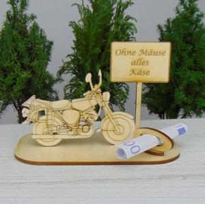 Geld- oder Gutscheingeschenkset ★ Moped aus Holz mit der Aufschrift ★ Ohne Mäuse alles Käse ★ Gutscheine für Männer als Geburtstagsgeschenk - Handarbeit kaufen