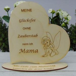 ★ Personalisiertes Muttertags Herz  aus  Holz ★ Meine Glücksfee ohne Zauberstab nenn ich Mama graviertes Herz mit Wunschtext - Handarbeit kaufen