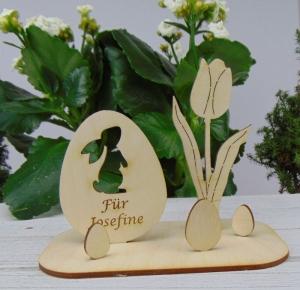 Osterdekoration- oder Geschenk ★ Ei mit Hase/ Tulpe aus Holz ★ mit Wunschgravur ★ Personalisierung - Handarbeit kaufen