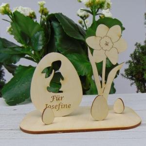 Osterdekoration- oder Geschenk ★  Ei mit Hase/ Narzisse aus Holz ★ mit Wunschgravur  ★ Personalisierung - Handarbeit kaufen
