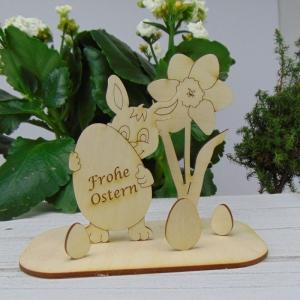 Osterdekoration- oder Geschenk ★  Hase/ Eier/ Narzisse aus Holz ★ mit Aufschrift: