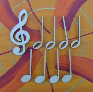 Musikalische Dekoration ★ 9 er Set  - 8 Noten 42 mm und 1 Notenschlüssel 60 mm ★ zum Verschenken für ein Jubiläum oder selbst dekorieren  - Handarbeit kaufen