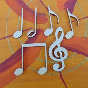 Musikalische Dekoration ★ 6 er Set - 5 Noten 42 mm und 1 Notenschlüssel 60 mm ★ zum Verschenken für ein Jubiläum oder selbst dekorieren  - Handarbeit kaufen