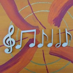 Musikalische Dekoration ★ 6 er Set - 5 Noten 32 mm und 1 Notenschlüssel 50 mm ★ zum Verschenken für ein Jubiläum oder selbst dekorieren  - Handarbeit kaufen