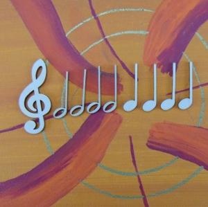 Musikalische Dekoration ★ 9 er Set 8 Noten 32 mm, 1 Notenschlüssel 50 mm★ zum Verschenken für ein Jubiläum oder selbst dekorieren  - Handarbeit kaufen