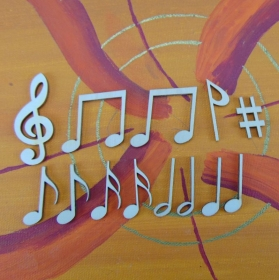 Musikalische Dekoration ★ 13 er Set Noten, 12 Noten 32 mm und 1 Notenschlüssel 50 mm★ zum Verschenken für ein Jubiläum oder selbst dekorieren  - Handarbeit kaufen
