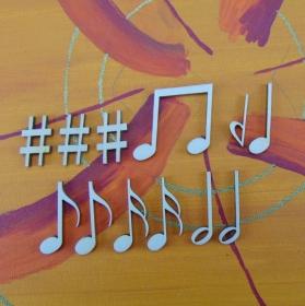 Musikalische Dekoration ★ 12 er Set Noten 32 mm★ zum Verschenken für ein Jubiläum oder selbst dekorieren - Handarbeit kaufen