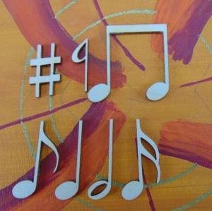 Musikalische Dekoration ★ 7 er Set Noten 42 mm★ zum Verschenken für ein Jubiläum oder selbst dekorieren  - Handarbeit kaufen