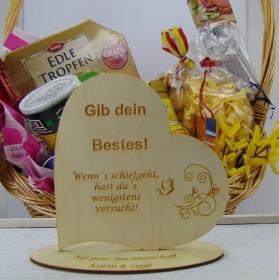 """Personalisiertes Freundschafts-Herz aus Holz mit der Aufschrift: """"Gib dein Bestes! Wenn´s schiefgeht, hast du´s wenigstens versucht! - Handarbeit kaufen"""