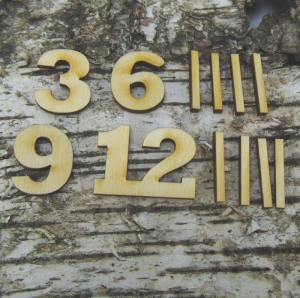 Römische Ziffern oder Zahlen aus Naturholz ★25 mm ★ 3 6 9 12 plus 8 Striche für Uhren   - Handarbeit kaufen