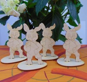 Osterdekoration- oder Geschenk ★ 4 Stck Hasen mit Fuß aus Holz ★zum bemalen  - Handarbeit kaufen