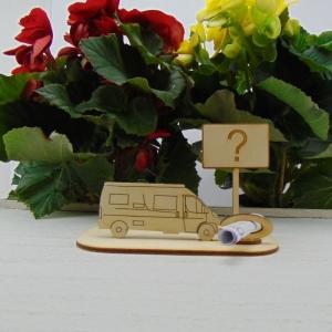 ♥ Geldgeschenk ♥ Van Wohnmobil aus Holz Gutscheingeschenk mit Ortsschild gravierter Spruch Fragezeichen oder Wunschtext - Handarbeit kaufen