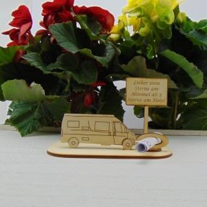 ♥ Geldgeschenk ♥ Van Wohnmobil aus Holz Gutscheingeschenk mit Ortsschild gravierter Spruch