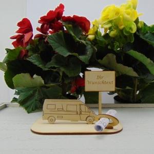 ♥ Geldgeschenk ♥ Van Wohnmobil aus Holz Gutscheingeschenk mit Ortsschild gravierter Spruch Ihr eigener Wunschtext  - Handarbeit kaufen