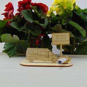 ♥ Geldgeschenk ♥ Van Wohnmobil aus Holz Gutscheingeschenk mit Ortsschild gravierter Spruch Gutschein für einen Familienurlaub - Handarbeit kaufen