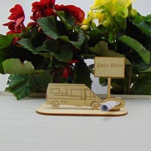 ♥ Geldgeschenk ♥ Van Wohnmobil aus Holz Gutscheingeschenk mit Ortsschild gravierter Spruch  - Handarbeit kaufen