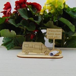 ♥ Geldgeschenk ♥ Van Wohnmobil aus Holz Gutscheingeschenk mit Ortsschild gravierter Spruch Wünschen kann man sich alles - Handarbeit kaufen