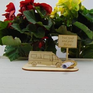 ♥ Geldgeschenk ♥ Van Wohnmobil aus Holz Gutscheingeschenk mit Ortsschild gravierter Spruch Viel Spaß und gute Reise - Handarbeit kaufen